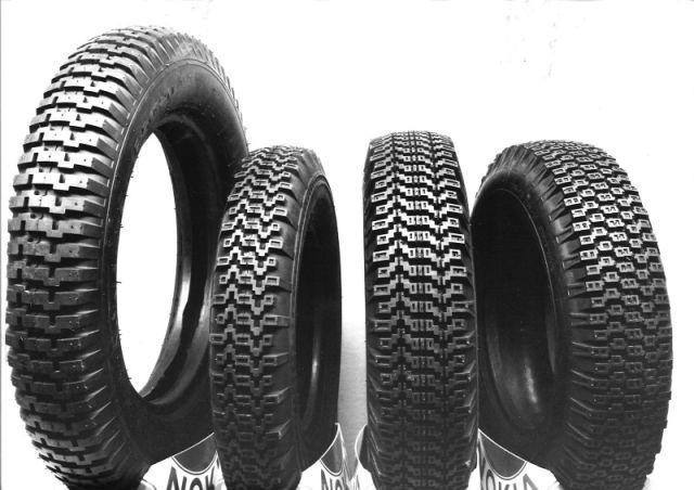 The first winter tyres in the world. Kelirengas, Lumi-Hakkapeliitta, Haka-Hakkapeliitta, and Hakkapeliitta posing together.