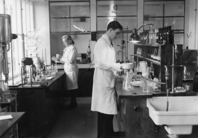 Researchers at work in the factory laboratory in Nokia.