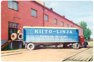 Tyres start their journey to the retailers, carried by the Kiitolinja transport company.