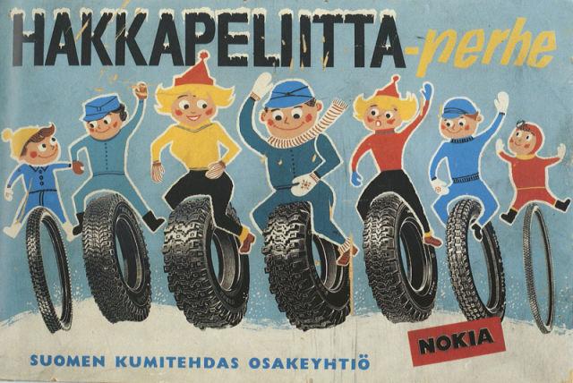 Счастливая семья Hakkapeliitta. Рекламный постер середины 1960-х.