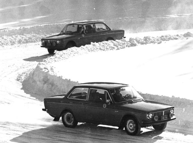 New company Volvos at speed on the Nokia test track in the beginning of the 1970s.