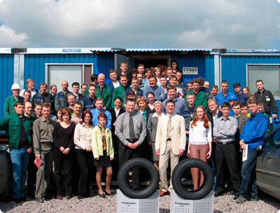 The first Hakkapeliittas and their proud builders. The first Nokian Hakkapeliitta 4 winter tyres were manufactured in Vsevolozhsk in June 2005.